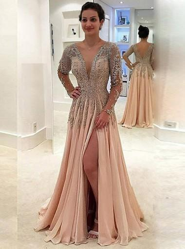 Long Sleeve Deep V Neck Heavily Beaded Side Slit Long Evening Prom Dresses, 17628