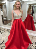 Sexy Backless Deep Neckline Red Skirt Delicate Beading A-line Long Evening Prom Dresses, 17356
