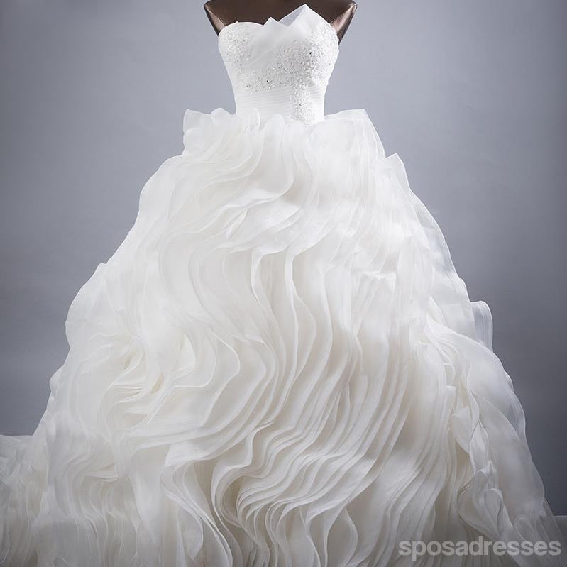 Luxurious Organza Ball Gown A line Wedding Bridal Dresses, Custom Made Wedding Dresses, Affordable Wedding Bridal Gowns, WD254