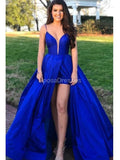 Sexy Backless Royal Blue A-line Long Evening Prom Dresses, Evening Party Prom Dresses, 12297