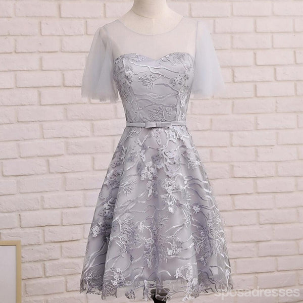 Short Sleeve Gray Lace Cute Homecoming Prom Dresses, Affordable Short Party Prom Sweet 16 Dresses, Perfect Homecoming Cocktail Dresses, CM338