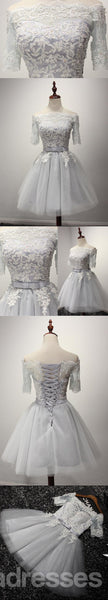 Short Sleeve Gray Lace Homecoming Prom Dresses, Affordable Short Party Prom Dresses, Perfect Homecoming Dresses, CM209