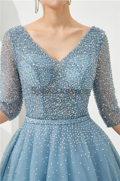 Long Sleeves Blue Beaded A-line Evening Prom Dresses, Evening Party Prom Dresses, 12130