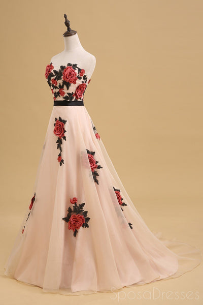 Sweetheart Hand Made Flower A-line Long Evening Prom Dresses, 17629