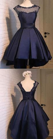 Navy Blue Lace Sexy Backless Short Homecoming Prom Dresses, Affordable Short Party Prom Sweet 16 Dresses, Perfect Homecoming Cocktail Dresses, CM369