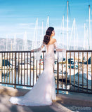 Off The Shoulder Long Sleeves Mermaid Wedding Dresses, Cheap Wedding Gown, WD711