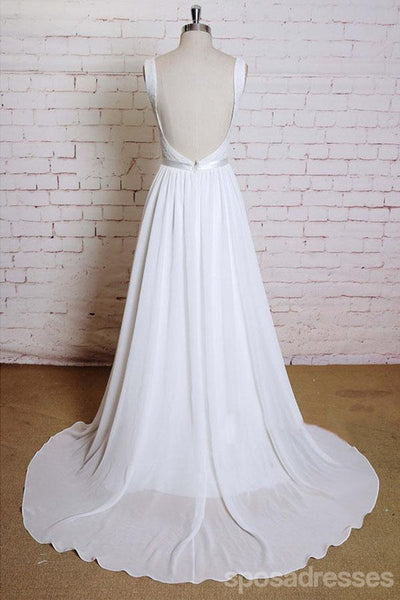 Straps Chiffon Backless Beach Long Wedding Bridal Dresses, WD293