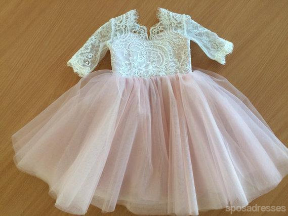 Lace top half sleeves pink tulle flower girl dresses v back popular lace top half sleeves pink tulle flower girl dresses v back popular little girl mightylinksfo Image collections