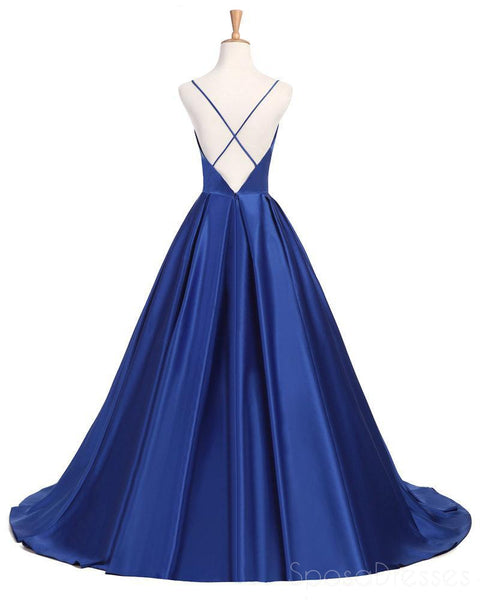 Sexy Cross Back Deep V Neckline A line Blue Long Evening Prom Dresses, Popular Cheap Long 2018 Party Prom Dresses, 17232