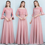 Dusty Pink Floor Length Mismatched Simple Cheap Bridesmaid Dresses Online, WG518