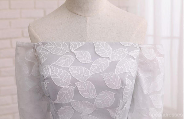 Short Sleeve Gray Leaf Lace Cute Homecoming Prom Dresses, Affordable Short Party Prom Sweet 16 Dresses, Perfect Homecoming Cocktail Dresses, CM339
