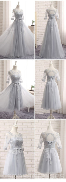 Long Sleeve Gray Lace A line Long Bridesmaid Dresses, Cheap Custom Long Bridesmaid Dresses, Affordable Bridesmaid Gowns, BD020
