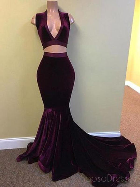 Two Pieces V Neck Dark Purple Mermaid Long Evening Prom Dresses, 17503