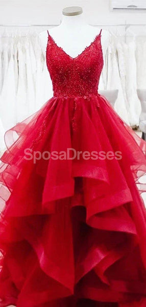 Red Spaghetti Straps Lace Beaded Ruffles Evening Prom Dresses, Evening Party Prom Dresses, 12277