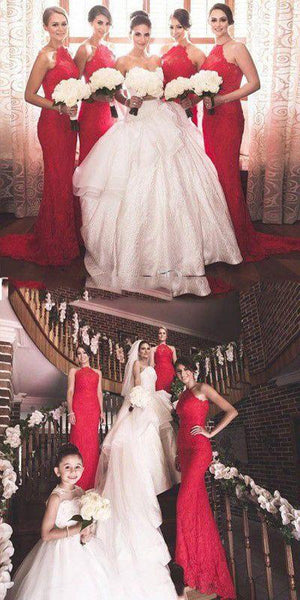 Charming Popular Red Halter Sexy Mermaid Lace Long Bridesmaid Dresses, WG152