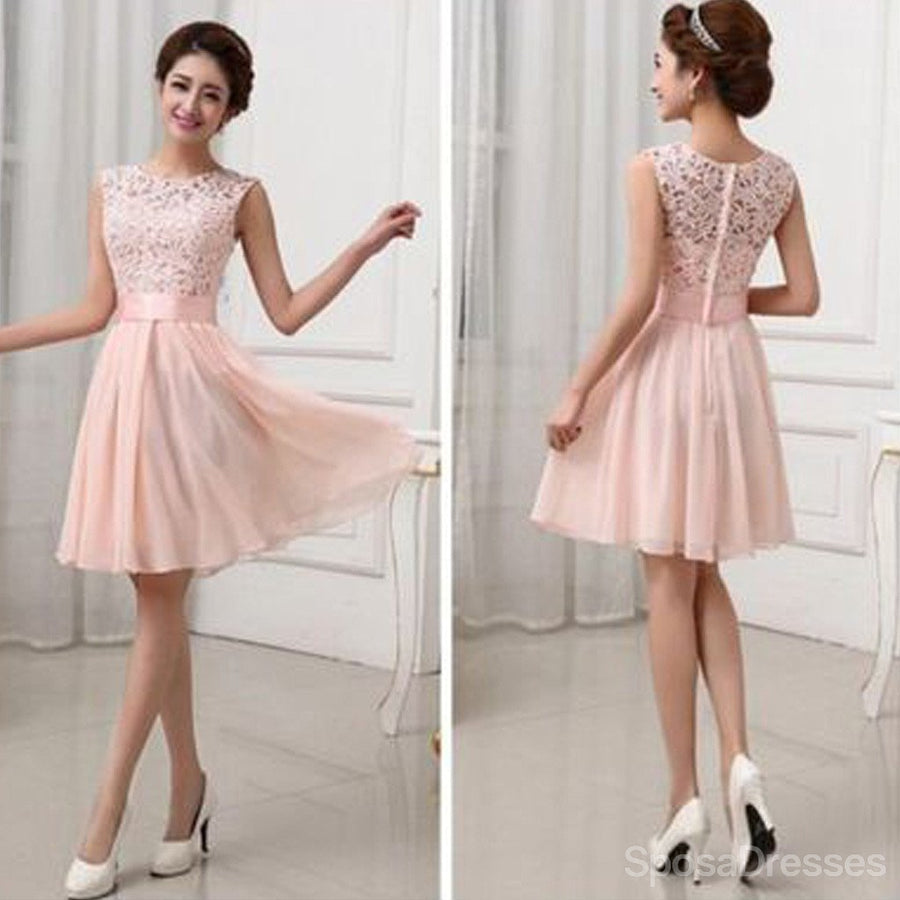 Buy red pink chiffon bridesmaid dresses sposadresses beautiful junior blush pink lace top small round neck short knee length on sale wedding ombrellifo Image collections