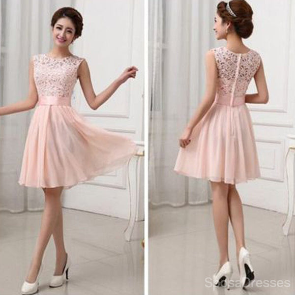 Beautiful Junior Blush Pink Lace Top Small Round Neck Bridesmaid Dresses, WG154