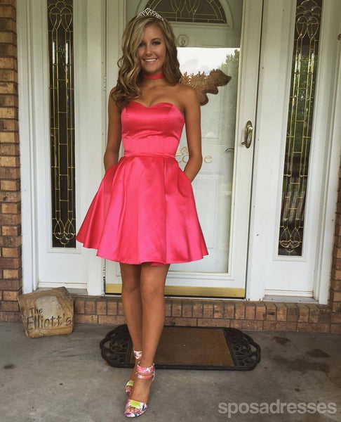 Sweetheart Simple Cute Cheap Short Red Homecoming Dresses Under 100, CM533