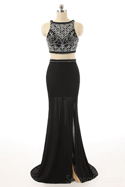 Sexy Two Pieces Beaded Evening Prom Dresses, Black Long Slit Party Prom Dress, Custom Long Prom Dresses, Cheap Formal Prom Dresses, 17058