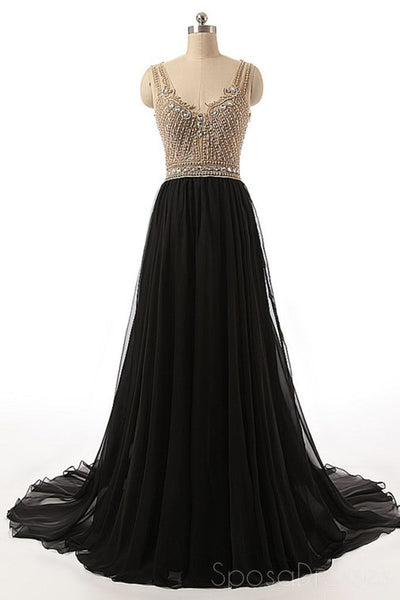 Sexy See Through Beaded Evening Prom Dresses, Black Long Party Prom Dress, Custom Long Prom Dresses, Cheap Formal Prom Dresses, 17059