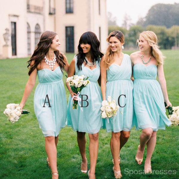 Chiffon Mismatched Simple Junior Knee Length Blue Cheap Bridesmaid Dresses, WG157