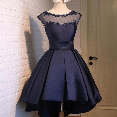 Navy Blue Lace Sexy Backless Short Homecoming Prom Dresses
