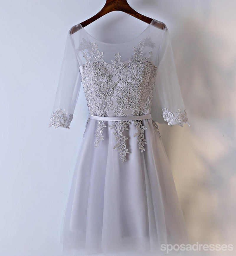 Long Sleeve Lace Gray Homecoming Prom Dresses, Affordable Corset Back Short Party Prom Dresses, Perfect Homecoming Dresses, CM255