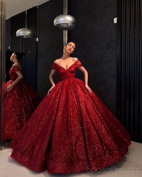 Off Shoulder Red Sparkly Ball Gown Cheap Long Evening Prom Dresses, Cheap Custom Sweet 16 Dresses, 18530