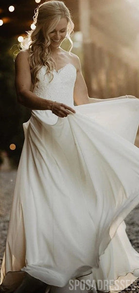Sweetheart Side Slit Chiffon Beach Wedding Dresses, Cheap Wedding Gown, WD687