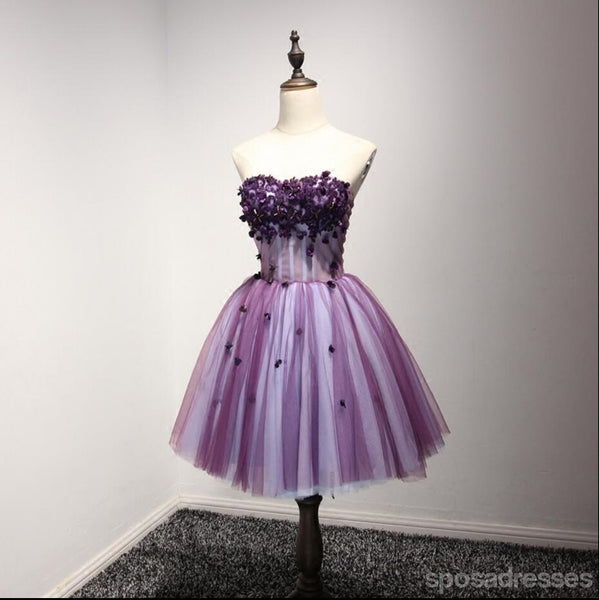 Purple Strapless Lace Homecoming Prom Dresses, Affordable Short Party Corset Back Prom Dresses, Perfect Homecoming Dresses, CM214