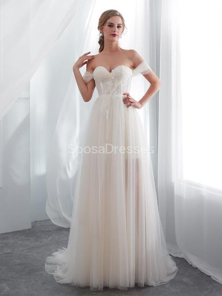 Sweetheart Off Shoulder Simple A-line Cheap Wedding Dresses Online, Cheap Bridal Dresses, WD576