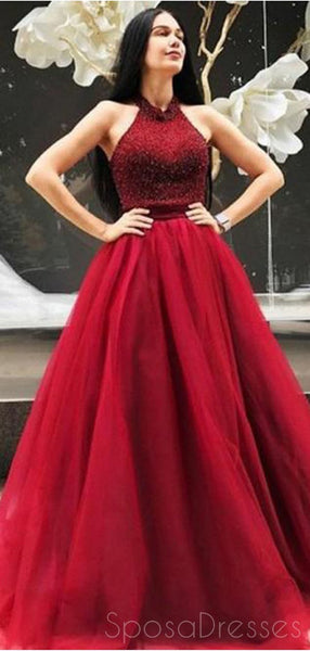 Red Halter Beaded A-line Cheap Long Evening Prom Dresses, Cheap Sweet 16 Dresses, 18390