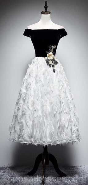 Off Shoulder Black And White Feather Cheap Homecoming Dresses Online, Cheap Short Prom Dresses, CM757