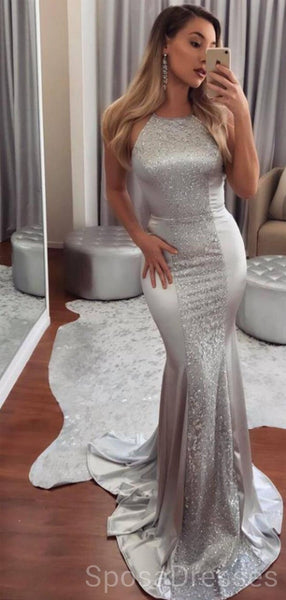 Sexy Backless Mermaid Silver Evening Prom Dresses, Cheap Custom Sweet 16 Dresses, 18493