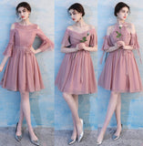 Dusty Pink Chiffon Mismatched Simple Short Bridesmaid Dresses Online, WG514