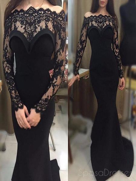 Long Sleeve Black Lace Mermaid Long Evening Prom Dresses, Popular Cheap Long Custom Party Prom Dresses, 17342