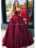 Dark Red Sweetheart A-line Long Evening Prom Dresses, Evening Party Prom Dresses, 12300