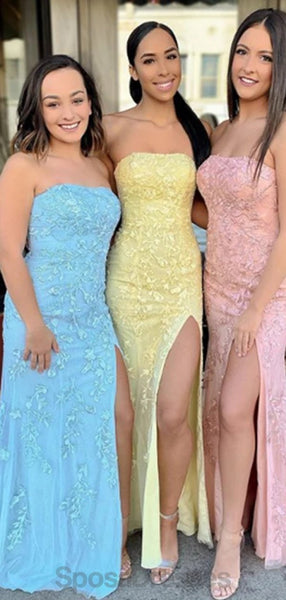 Lace Mermaid Strapless Side Slit Evening Prom Dresses, Evening Party Prom Dresses, 12140