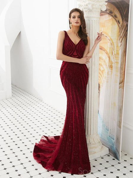 Dark Red V Neck Lace Rhinestone Beaded Evening Prom Dresses, Evening Party Prom Dresses, 12090