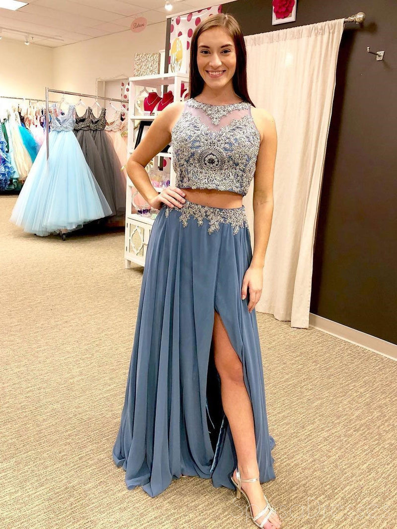 Sexy Two Pieces Halter Dusty Blue Lace Beaded Side Slit Long Evening Prom Dresses, 17357