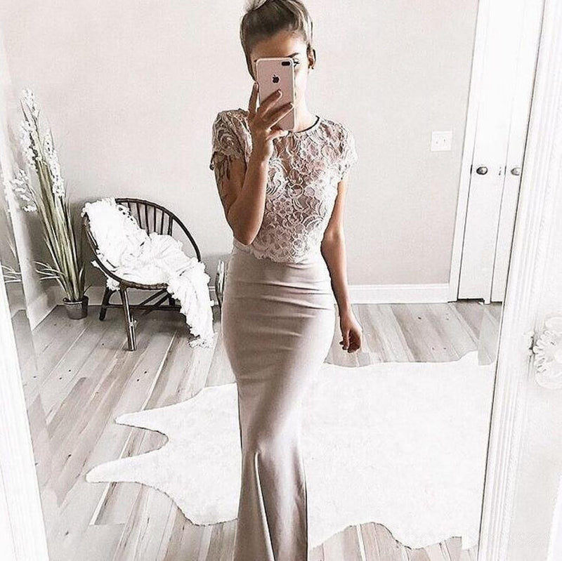 Sexy Two Pieces Short Sleeve Lace Mermaid Long Evening Prom Dresses, Popular Cheap Long 2018 Party Prom Dresses, 17288