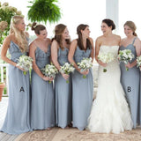 Grey Chiffon V Neck Cheap Custom Bridesmaid Dresses Online, WG214