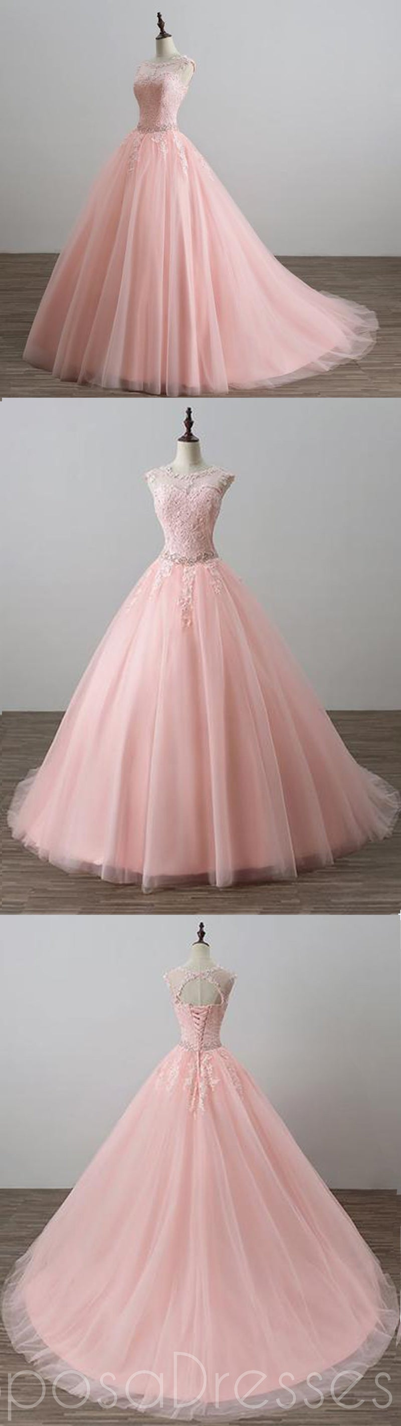 Blush Pink Open Back Lace Illusion A line Skirt Long Evening Prom ...