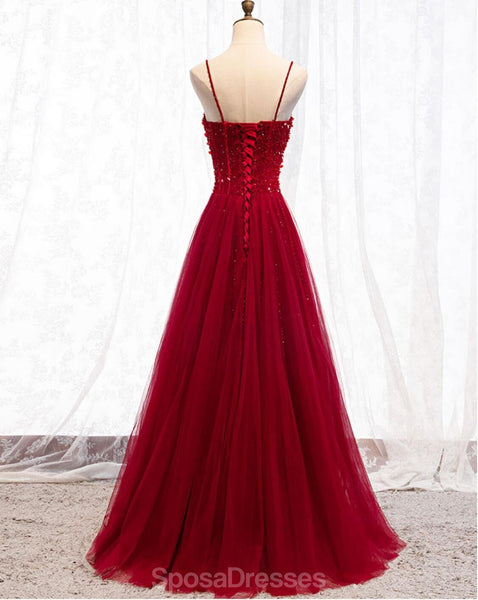 Spaghetti Straps Red A-line Long Evening Prom Dresses, Evening Party Prom Dresses, 12334