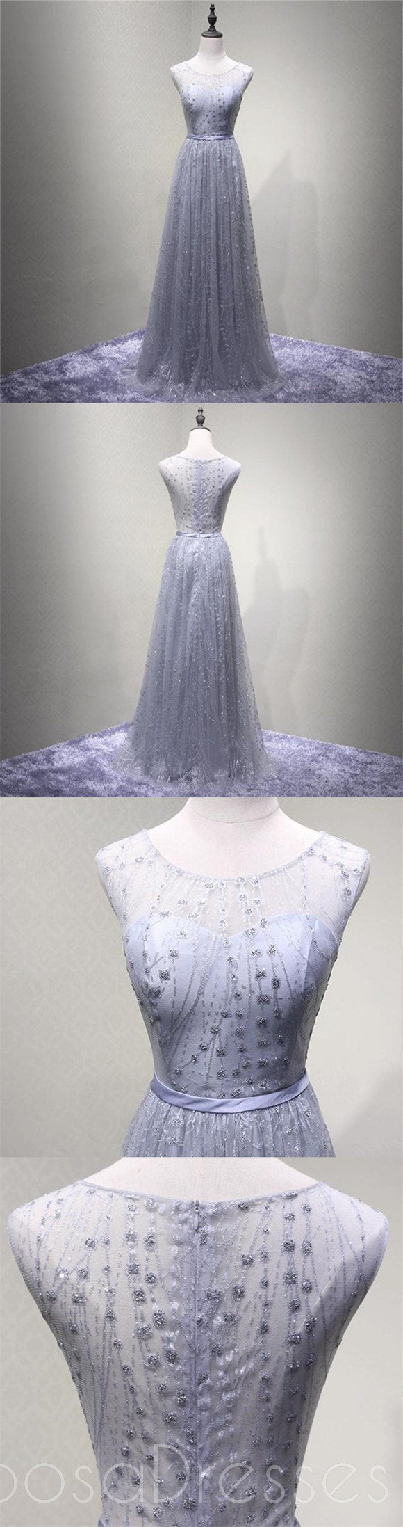 See Through Gray Lace Beaded Scoop Neckline Evening Prom Dresses, Popular Lace Party Prom Dresses, Custom Long Prom Dresses, Cheap Formal Prom Dresses, 17187