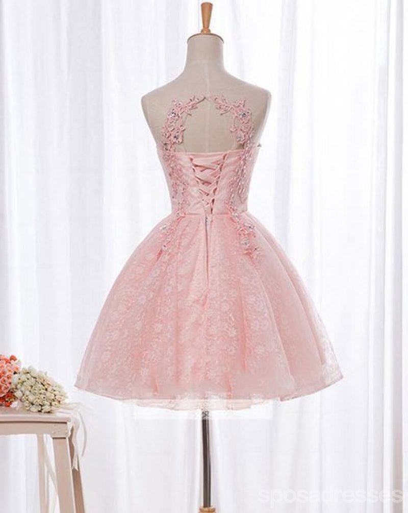 Open Back Pink Lace Beaded Short Homecoming Prom Dresses, Affordable Short Party Prom Sweet 16 Dresses, Perfect Homecoming Cocktail Dresses, CM369