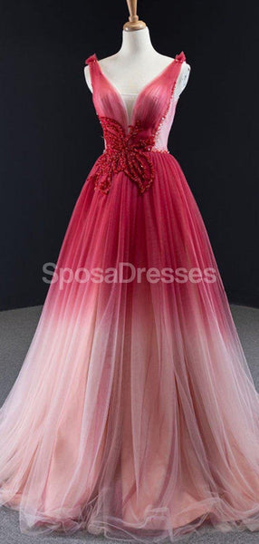 V Neck Beaded Red Ombre Long Evening Prom Dresses, Evening Party Prom Dresses, 12260