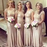 Shinning Cap Sleeve Sequin Small Round Neck Long Cheap Bridesmaid Dresses, WG160