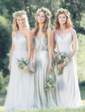 Mismatched Chiffon Sequin Long Formal A Line Cheap Bridesmaid Dresses, WG163