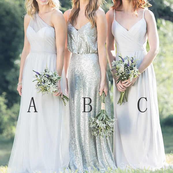 Mismatched Chiffon Sequin Long Formal A Line Spaghetti Strap One Shoulder Cheap Bridesmaid Dresses, WG163